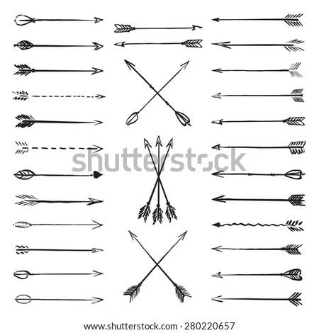Vector collection black hand-drawn arrows  #280220657