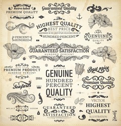 vector collection: calligraphic vintage design elements set and page decorations, classical ornaments   Premium Quality, Genuine and Satisfaction, Guaranteed Labels with engraving flowers and leafs