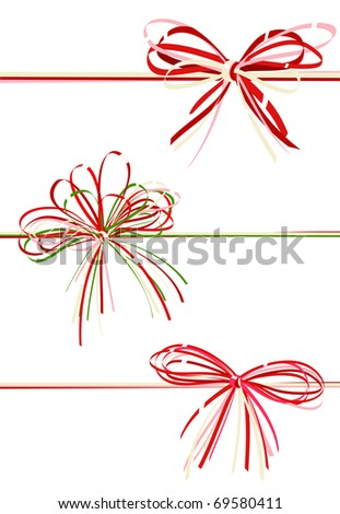 Vector collection gift bows of red color
