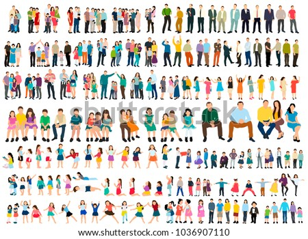 vector collection isometric people, flat style