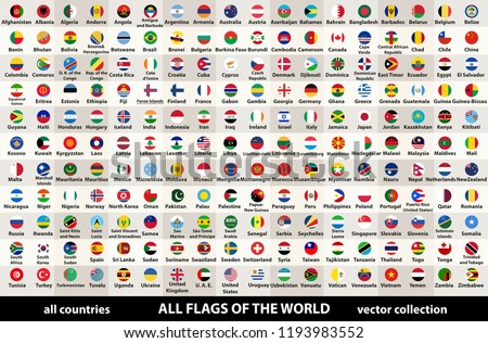vector collection of all flags of the world in circular design, arranged in alphabetical order, with original colors and high detailed emblems