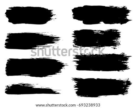 Vector collection of artistic grungy black paint hand made creative brush stroke set isolated on white background. A group of abstract grunge sketches for design education or graphic art decoration #693238933