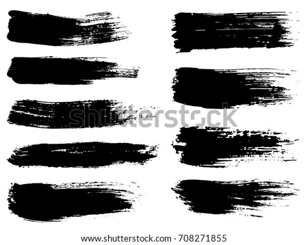 Vector collection of artistic grungy black paint hand made creative brush stroke set isolated on white background. A group of abstract grunge sketches for design education or graphic art decoration #708271855