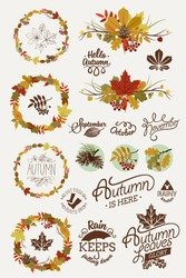 Vector collection of autumn (fall) themed design elements featuring decorative round frames, floral dingbats, ornamental badges, spacers, signs, retro styled calligraphy and lettering design elements