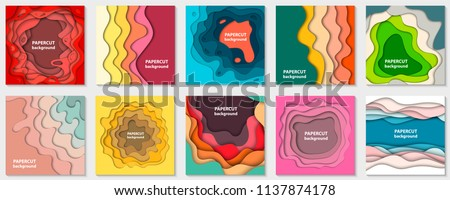 Vector collection of 10 backgrounds with colorful paper cut shapes. 3D abstract paper art style, design layout for business presentations, flyers, posters, prints, decoration, cards, brochure