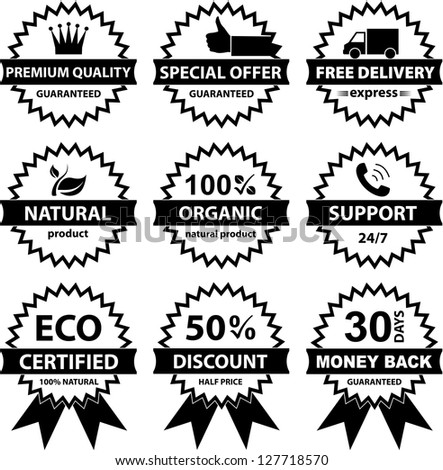 Vector Collection of badges - B&W