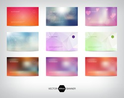 Vector collection of banners / business cards. Blurred photographic style bokeh backgrounds. Modern geometric polygonal patterns.