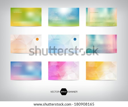 Vector collection of banners / business cards. Blurred photographic style bokeh backgrounds. Modern geometric polygonal patterns. Summer theme.