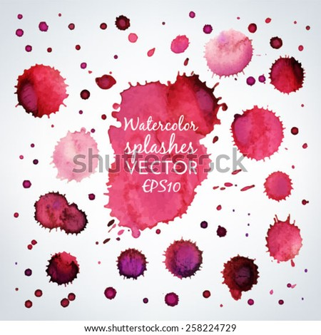 Vector collection of beautiful pink and red watercolor splashes