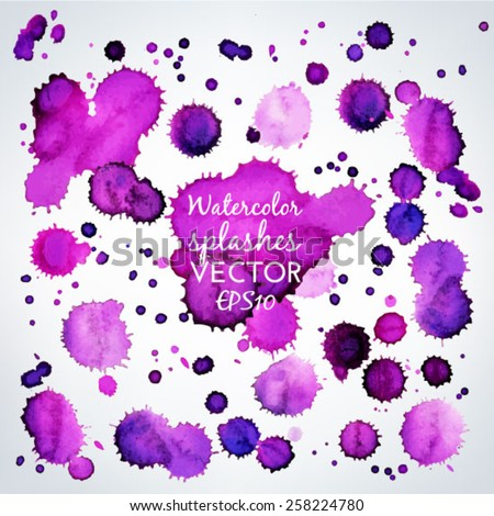 Vector collection of beautiful purple watercolor splashes