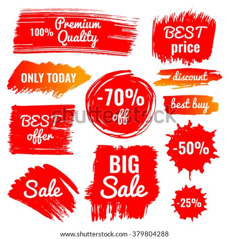 vector collection of big sale, discount, best price, best buy banner, premium quality, set of hand drawn isolated labels in grunge style ストックフォト ©