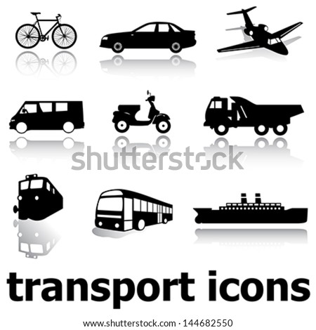 vector collection of black transport icons (silhouettes) with reflection on white background
