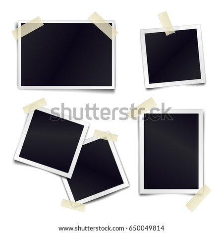 Vector Collection of blank photo frames sticked on duct tape to white background. Template mockups for design Сток-фото ©