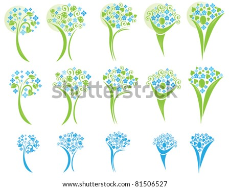 vector collection of blossoming trees