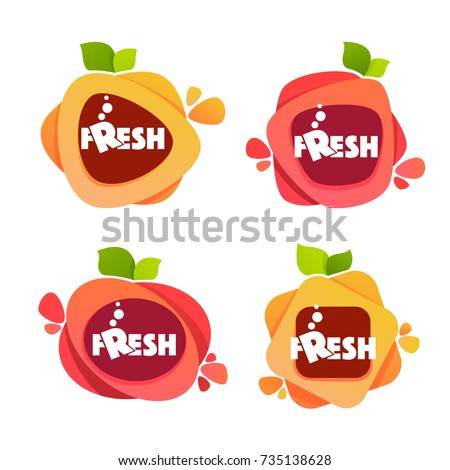 vector collection of bright and shine  stickers, emblems and banners for berry and orange fresh juice