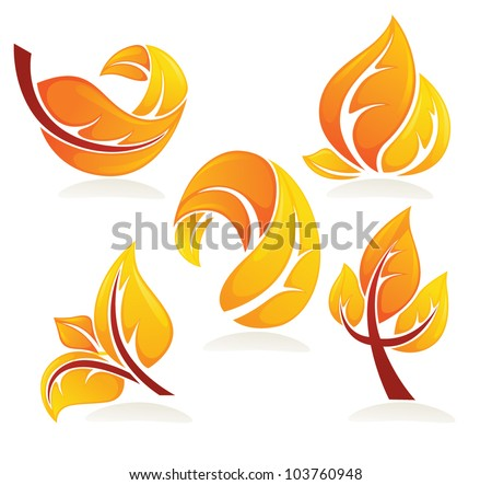 vector collection of bright autumn leaves