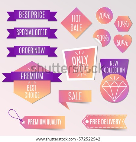 vector collection of bright gradient discount tags, banners and stickers