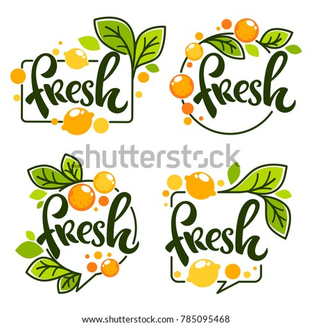 vector collection of bright   stickers, emblems logo and labels for lemon and orange fresh citrus juice with lettering composition