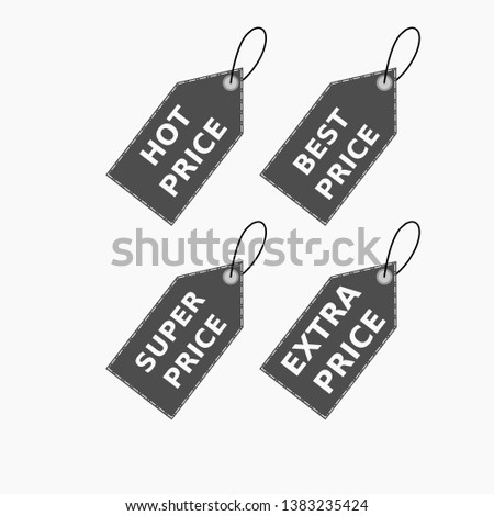 Vector collection of brown sale tags with text - Hot price, best price, super price, extra price. Labels for banners and posters design. Isolated from the background