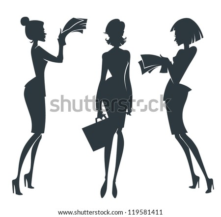 vector collection of business girl silhouettes