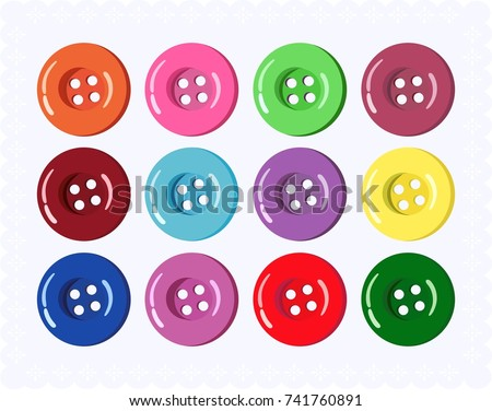 Vector collection of buttons for clothes, art and crafts in various bright colors. Fashion and needlework.