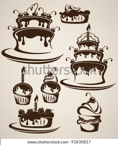 Vector collection of cakes and candies