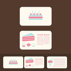 vector collection of cakes business cards, discount and promotional cards