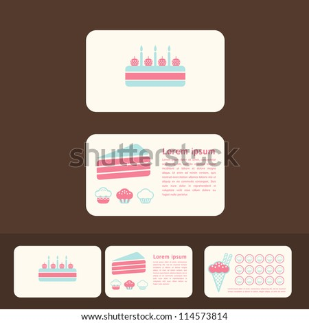 Vector collection of cakes business cards discount and for Promotional business cards