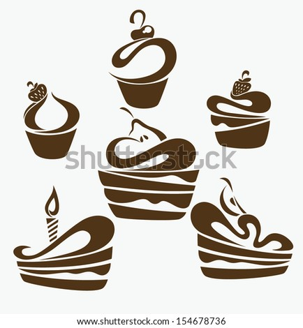 vector collection of cakes