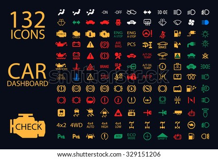 vector collection of car dashboard panel indicators, yellow red green blue indicators #329151206