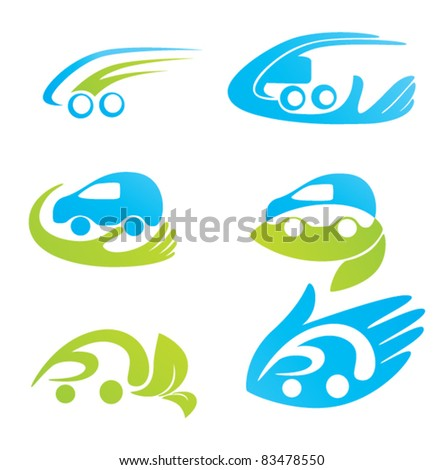 vector collection of car's, hand's and leaves' symbols