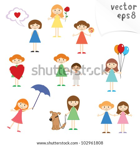 Vector collection of cartoon little girls