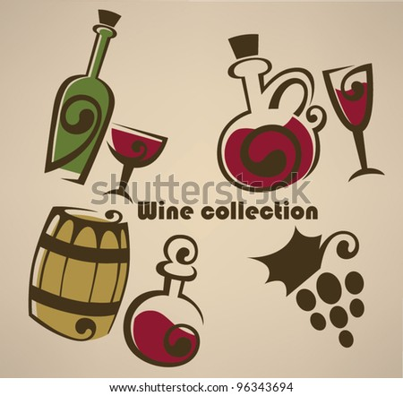 vector collection of cartoon wine symbols