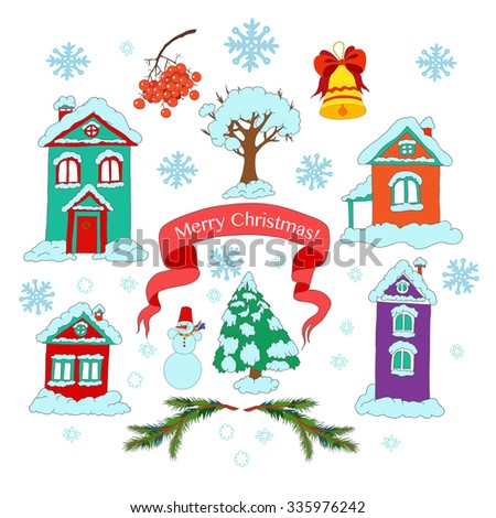 Vector collection of Christmas and Hew Year elements. Hand-drawn set.