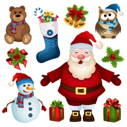 Vector collection of Christmas characters on a white background