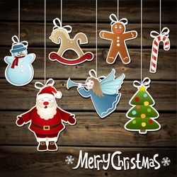 Vector collection of Christmas elements on a wooden background