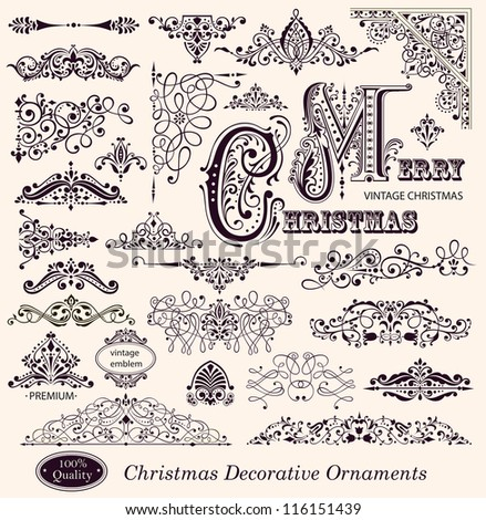 Vector collection of Christmas Ornaments and Decorative Elements borders frames