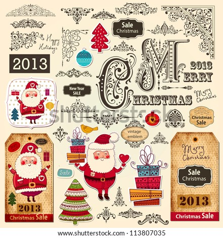 Vector collection of Christmas Ornaments and Decorative Elements: borders, frames, stickers with Santa Claus, Christmas tree