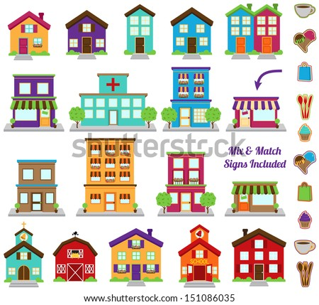 vector collection of city and