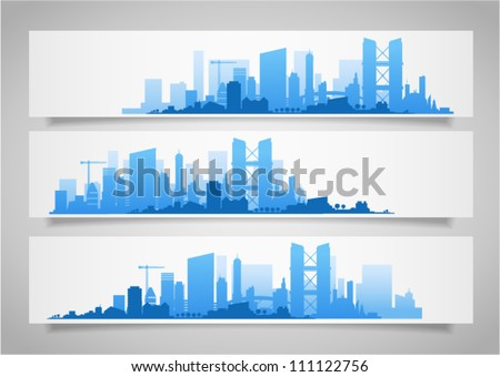 Vector collection of city skylines banners divided on layers for create parallax effect on your site. Image contains transparency in banner shadows and can be placed on every surface, EPS 10