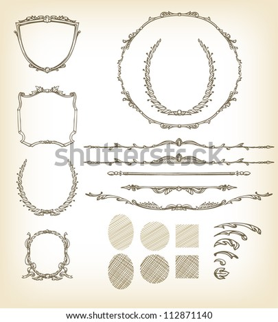 Vintage Frames And Borders Illustration Set With Template Decorative