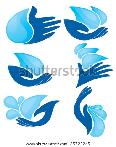 vector collection of clean hands and fresh water