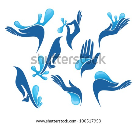 vector collection of clean women hands and fresh water