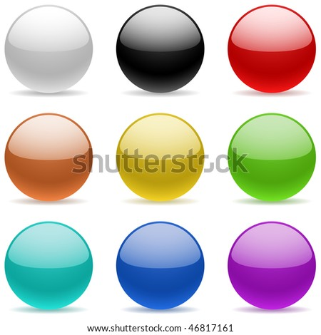 Vector collection of color glossy spheres isolated on white.
