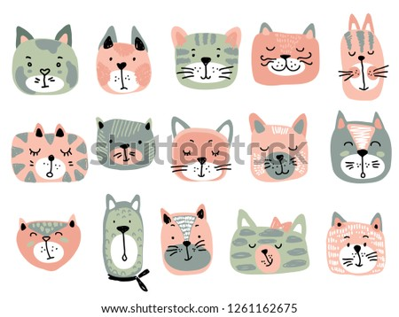 Vector collection of colorful cat faces. Funny illustration for children. #1261162675