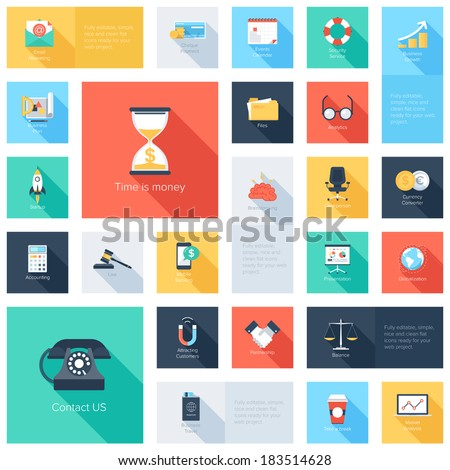 Vector collection of colorful flat business and finance icons with long shadow.