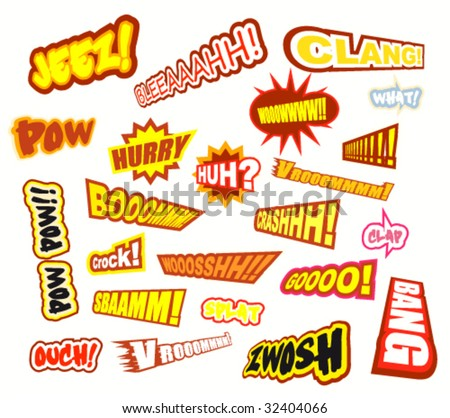 VECTOR Collection of colorful of Comic Word Expressions - Set 2b