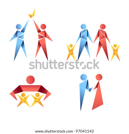 Vector collection of colorful origami family icons. EPS 10