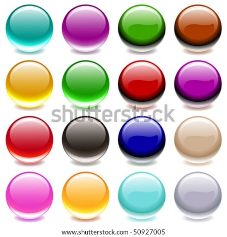 Vector Collection of Colorful Translucent Glossy Balls
