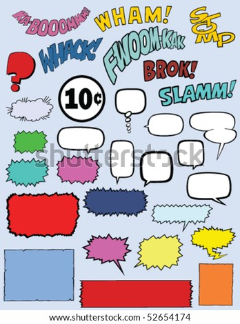 Vector collection of 30 comic book elements including speech bubbles, words, and text boxes.